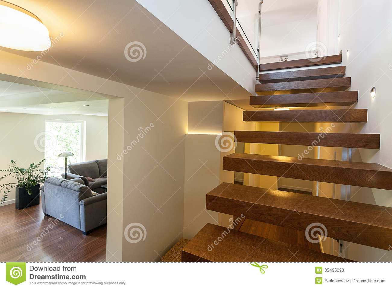bright space lit up stairs stock photo image 35435290. Black Bedroom Furniture Sets. Home Design Ideas