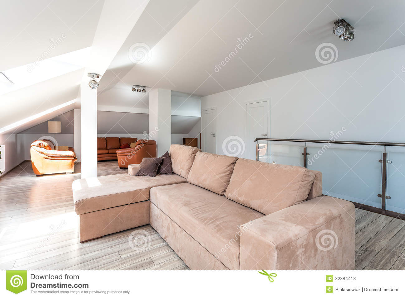 Bright Space Living Room Upstairs Stock Image Image Of Design