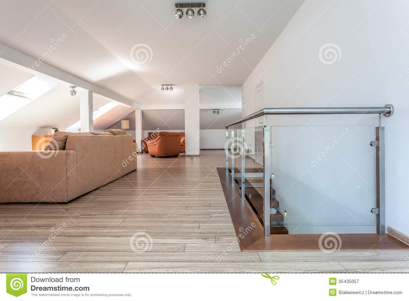 Bright space living room upstairs royalty free stock for Living room upstairs