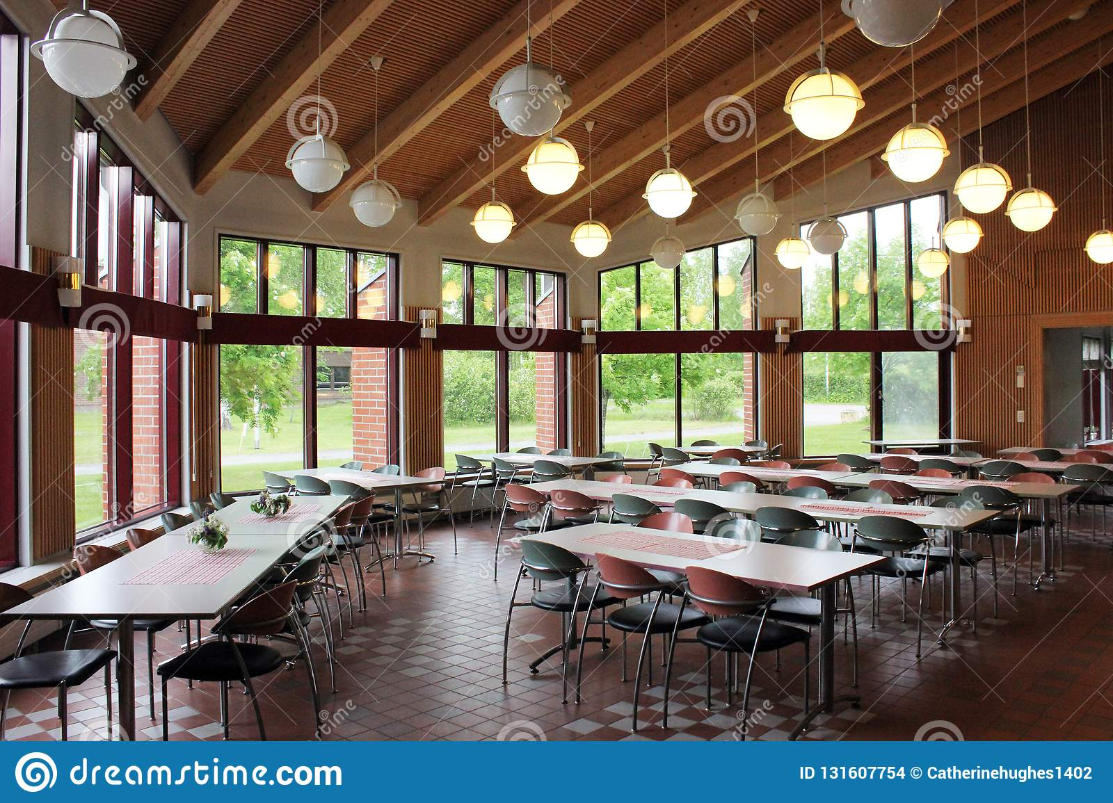 A Modern College Dining Hall Stock Photo Image Of Hanging Tables 131607754