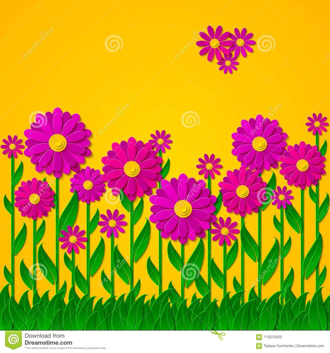 Bright Spring Floral Background With 3d Pink And Purple Cut Out