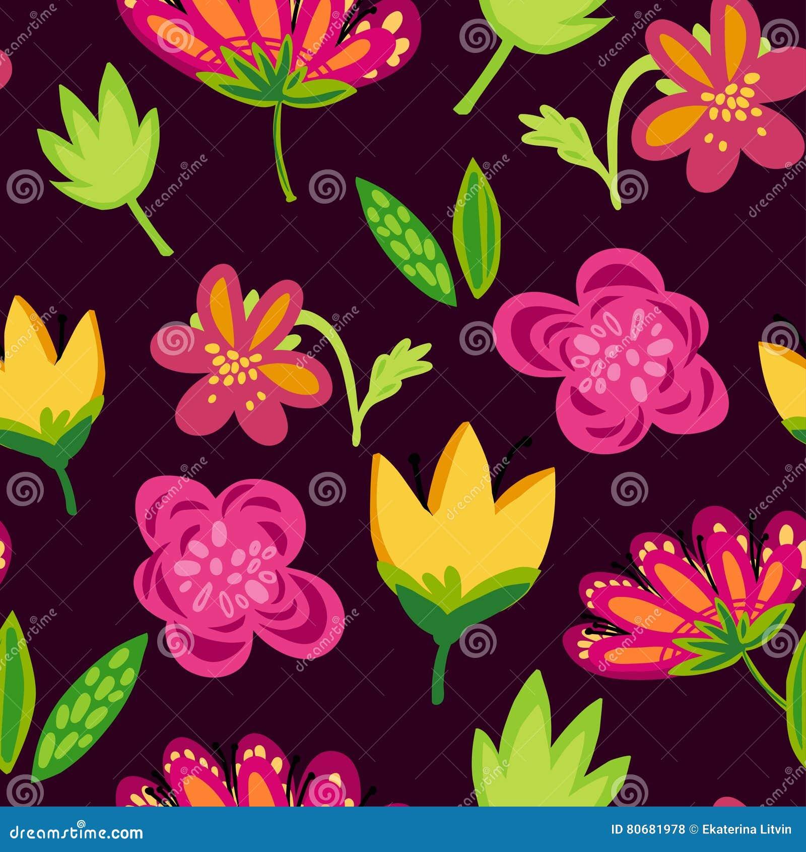 Bright Spring Flowers On Dark Background Stock Vector Illustration