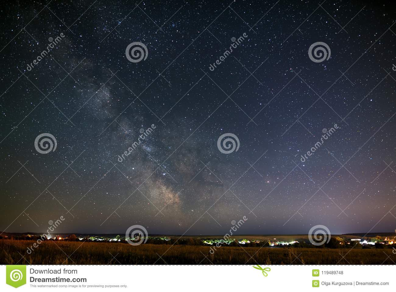 Bright stars part of the Milky Way in the night sky.