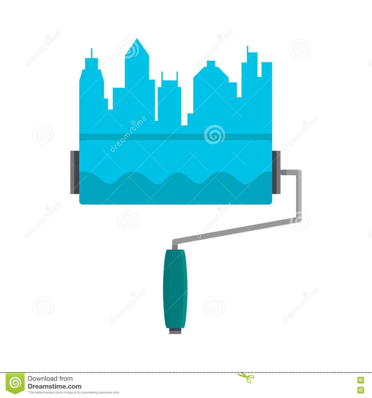bright stripe painted on a wall paint roller city skyline logo