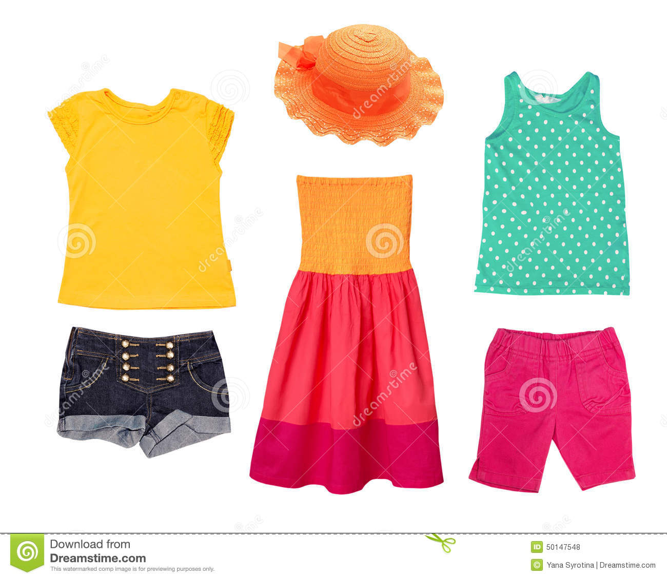 Bright Summer Fashion Kid Girl Clothing Royalty Free Stock Photos