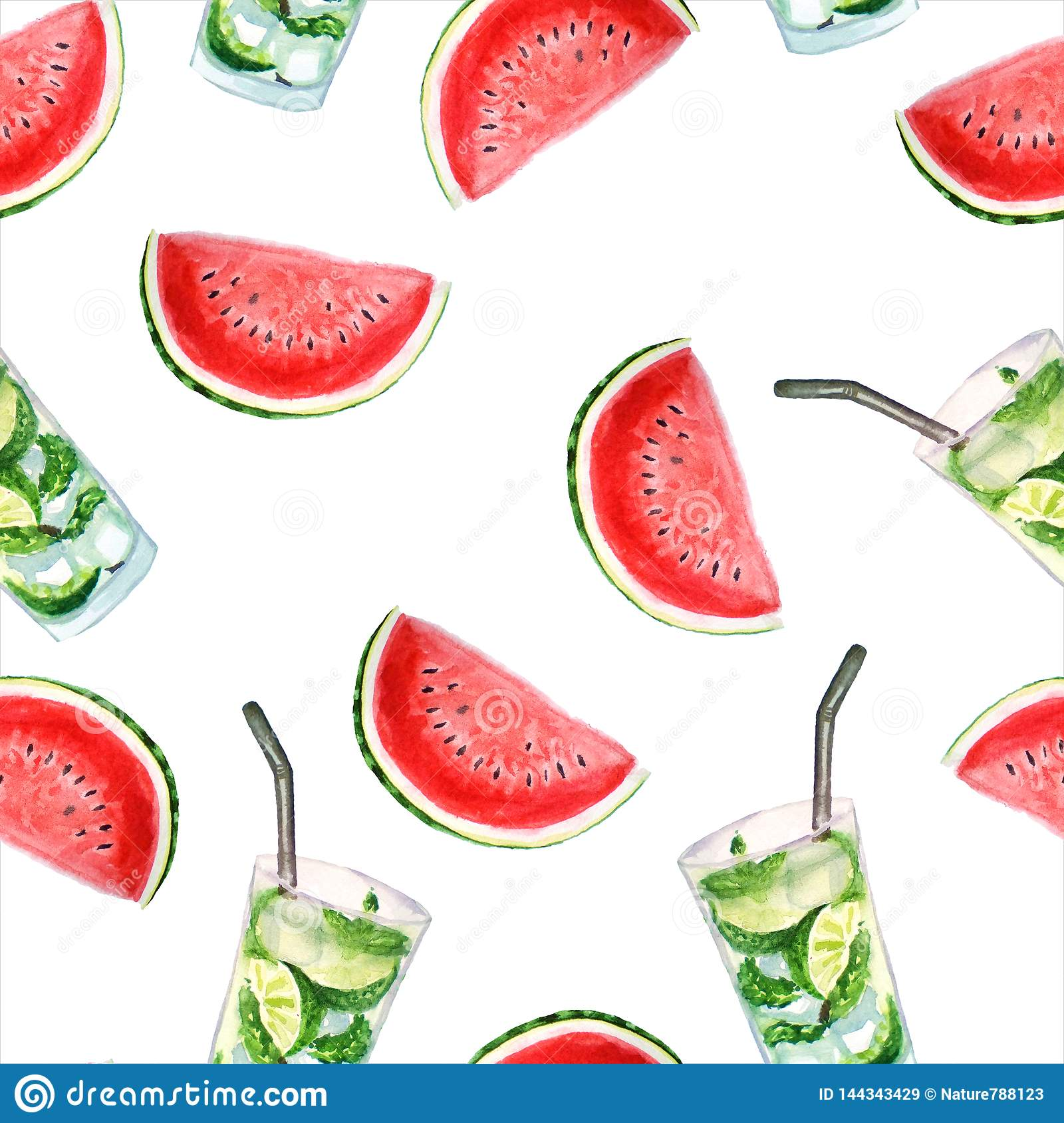 Bright summer watercolor pattern of watermelon and mojito cocktails