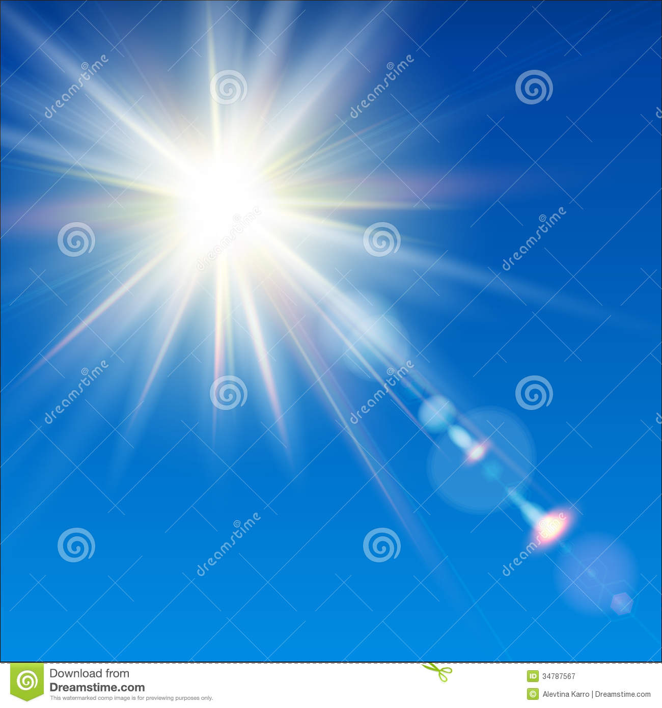 The Bright Sun Shines On A Blue Sky Background. Stock Illustration ... for Sun Light Effect Background  165jwn