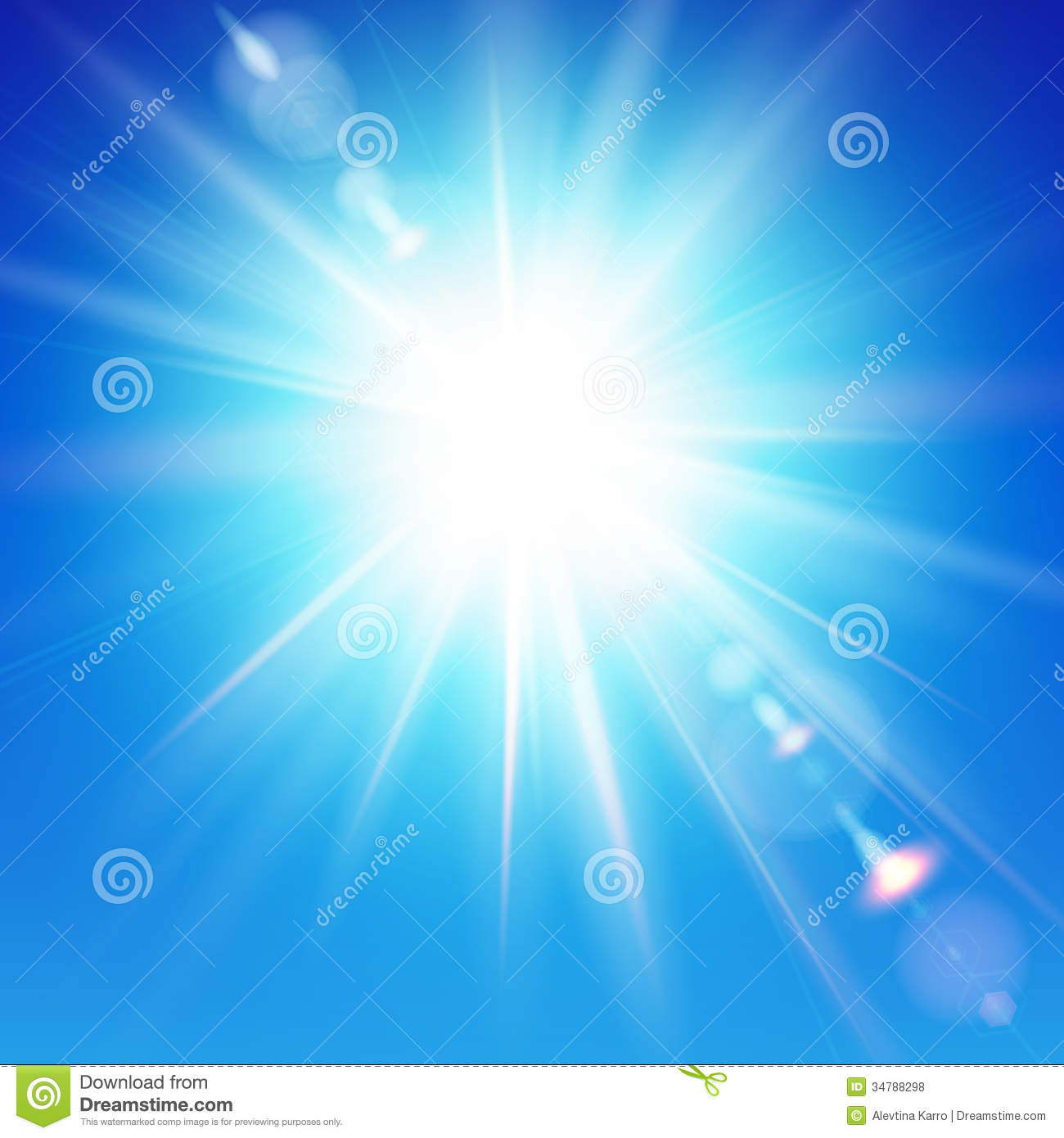 the bright sun shines on a blue sky background  royalty free stock photos
