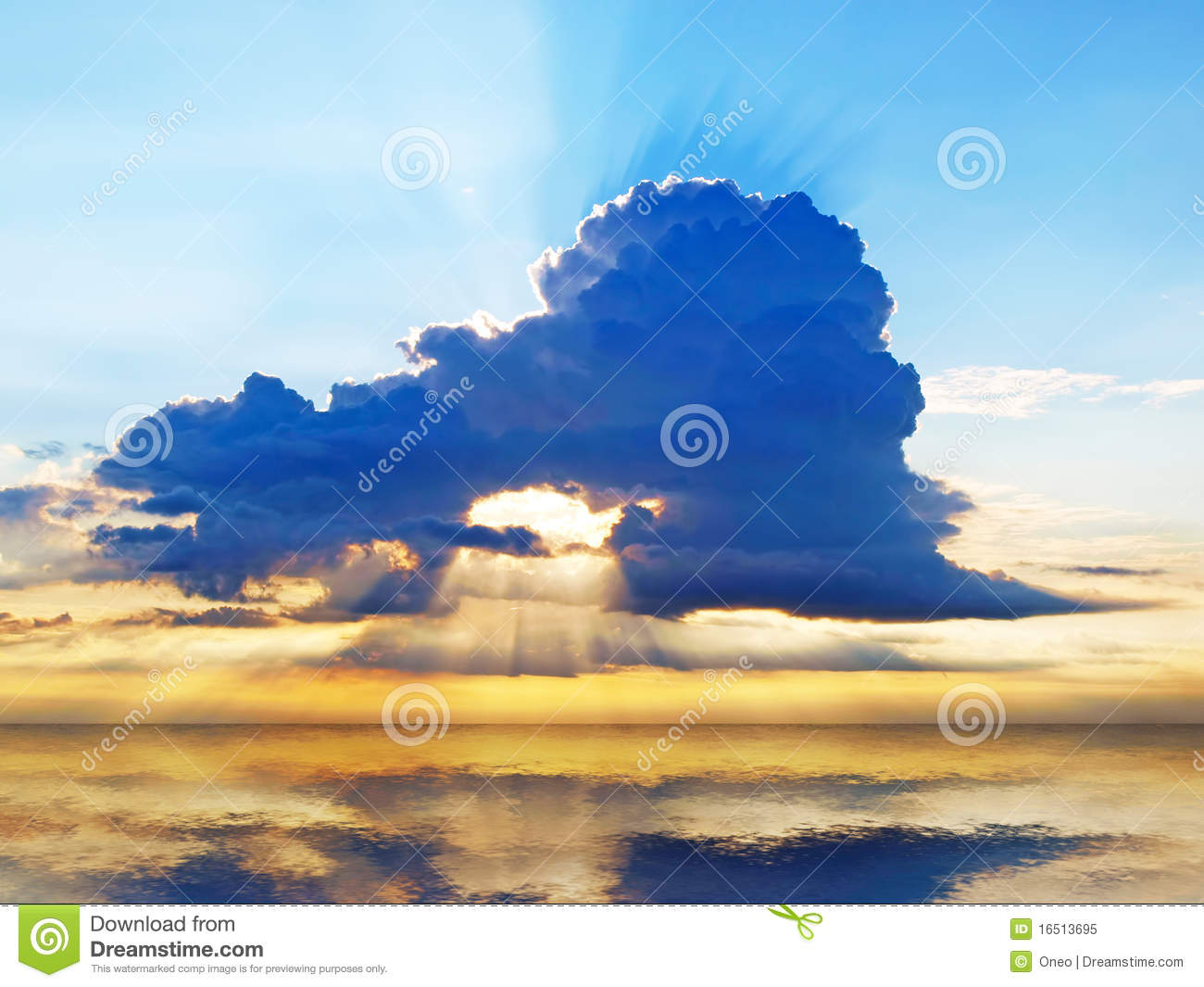 Bright sunset sky with stormy clouds