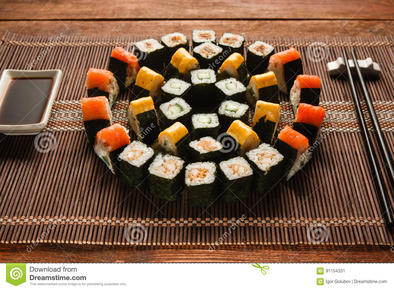 japanese cuisine sushi set royalty free stock photo. Black Bedroom Furniture Sets. Home Design Ideas