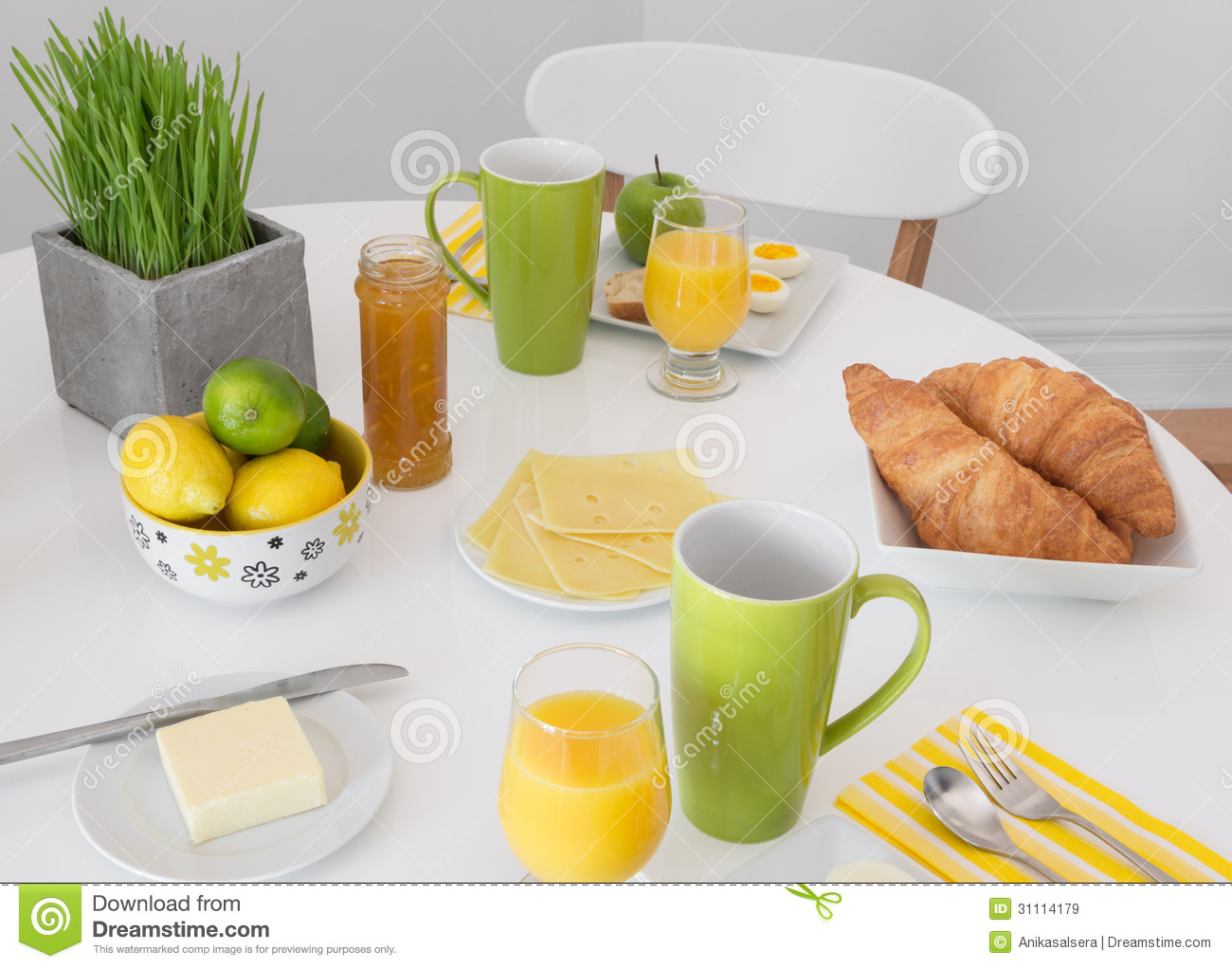 Bright Table Setting With Tasty Breakfast Royalty Free