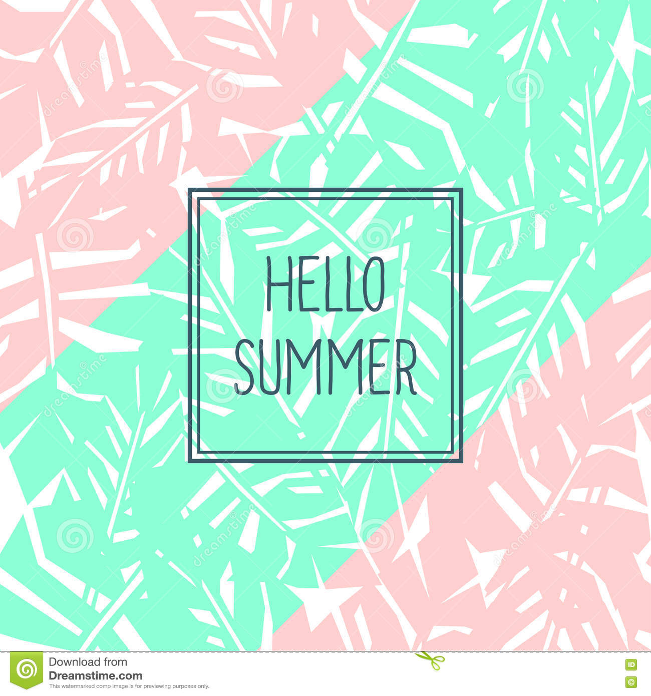 Bright Tropical Leaves Poster With Text. Hello Summer Card. Stock Vector    Im.