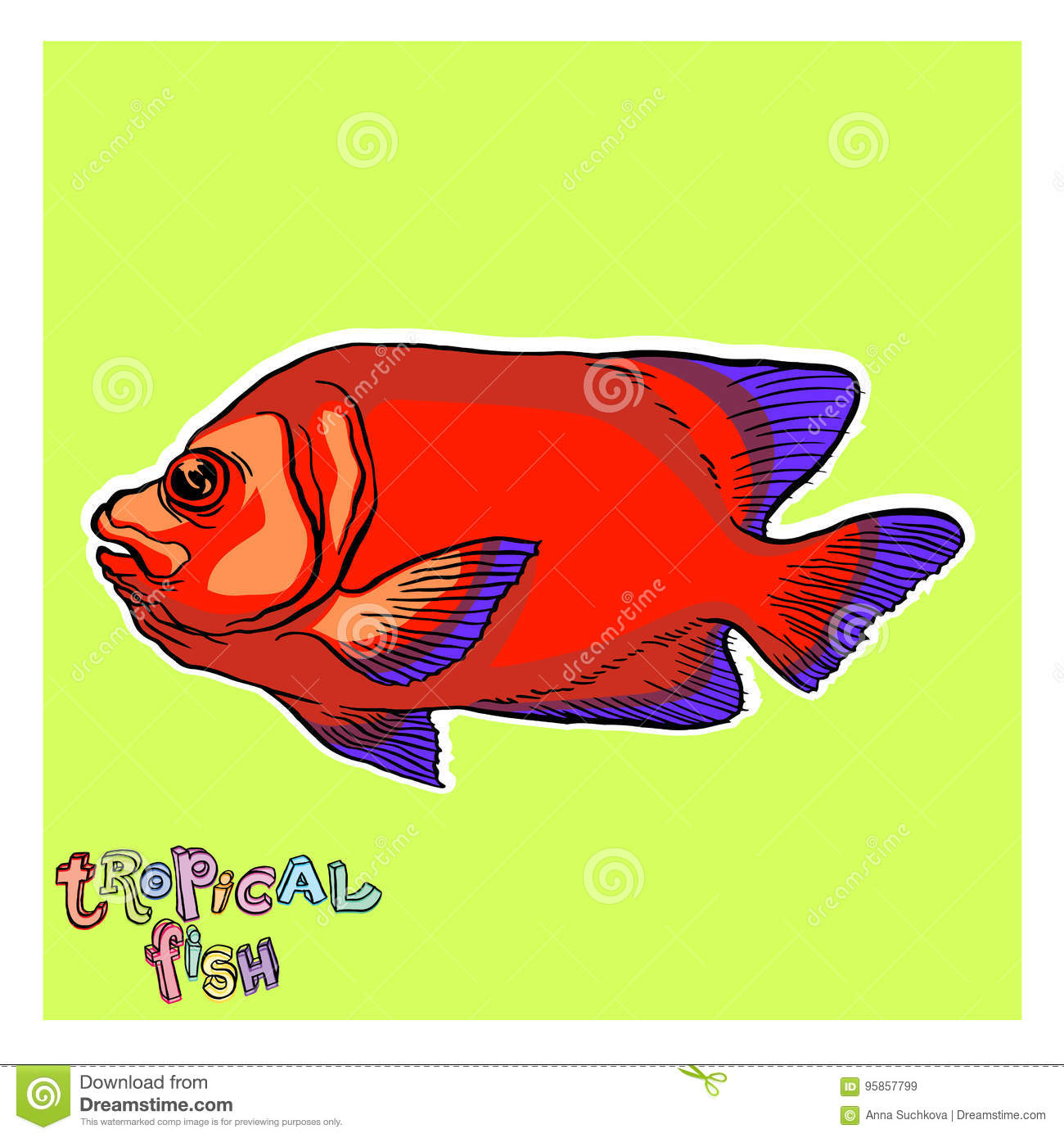 Bright tropical sea fish stock vector. Illustration of collection ...