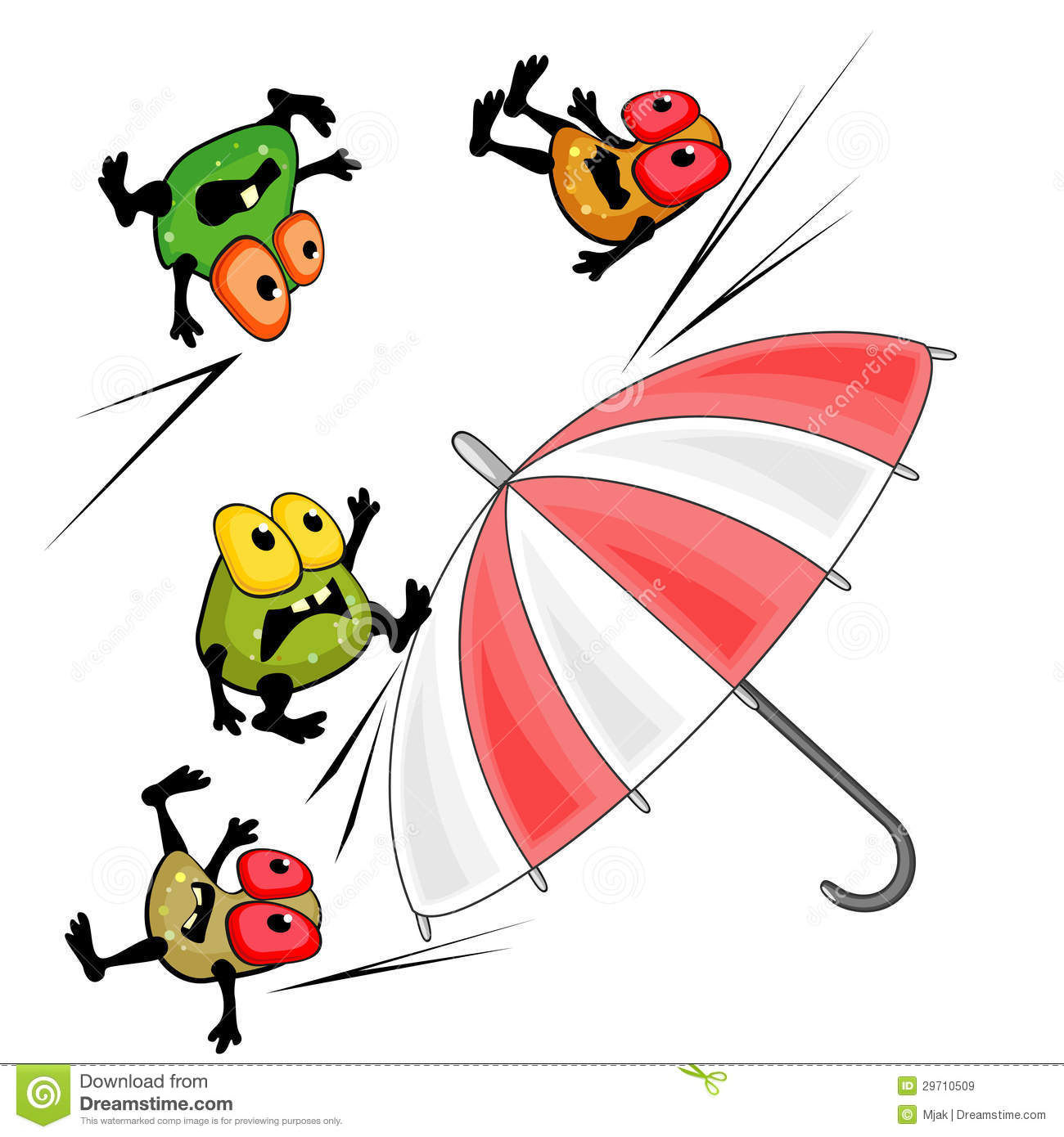 Bright umbrella and germs as concept of antibacterial action or
