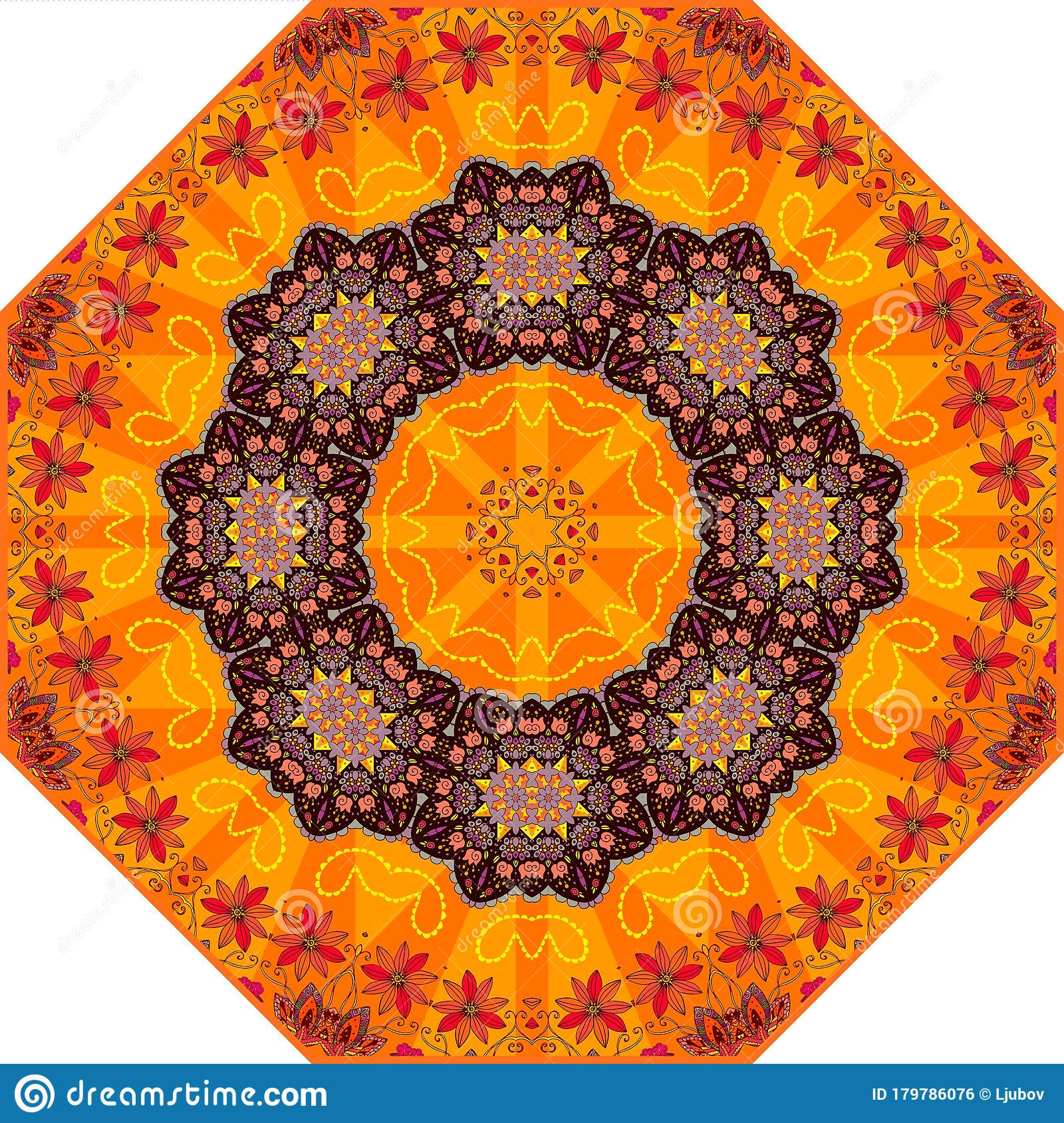 Picture of: Bright Umbrella Template With Beautiful Floral Ornament Summer Design For Napkin Rug Carpet Stock Vector Illustration Of Mandala Orange 179786076