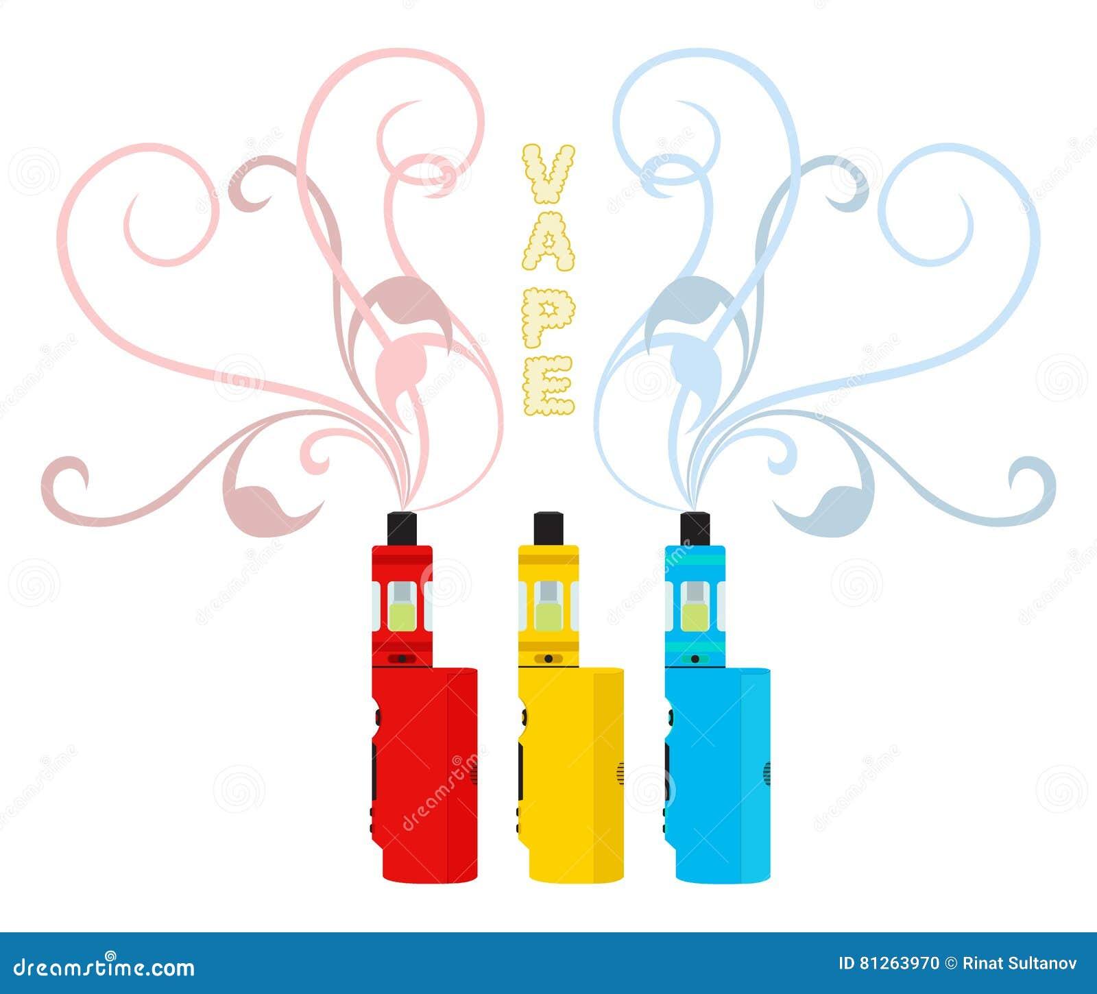 Bright Vape Devices Set  Vaping Liquid, Smoke Inhaler  Flat