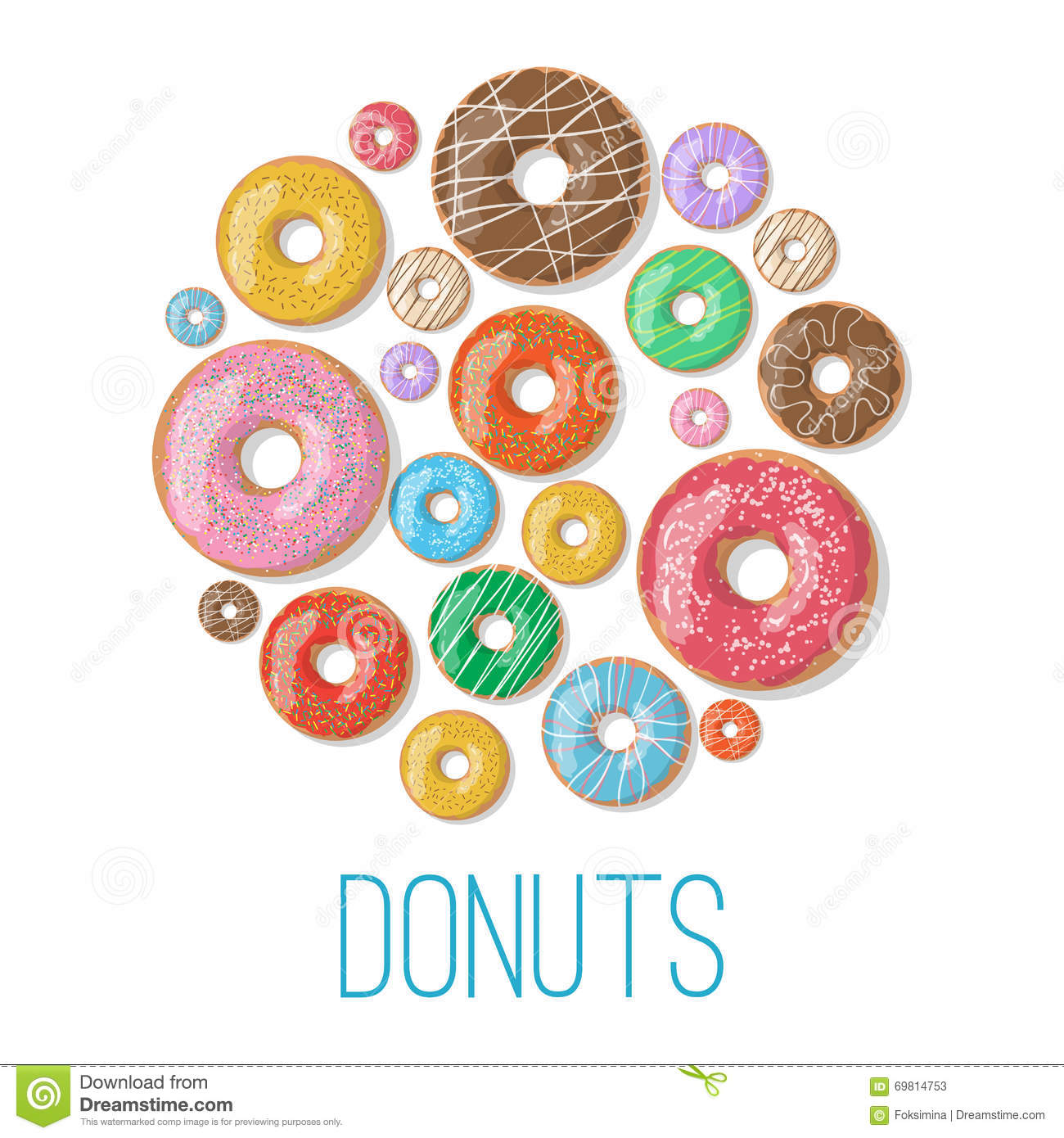 Cartoon Doughnut Factory: Bright Vector Banners With Donuts Illustration Isolated On