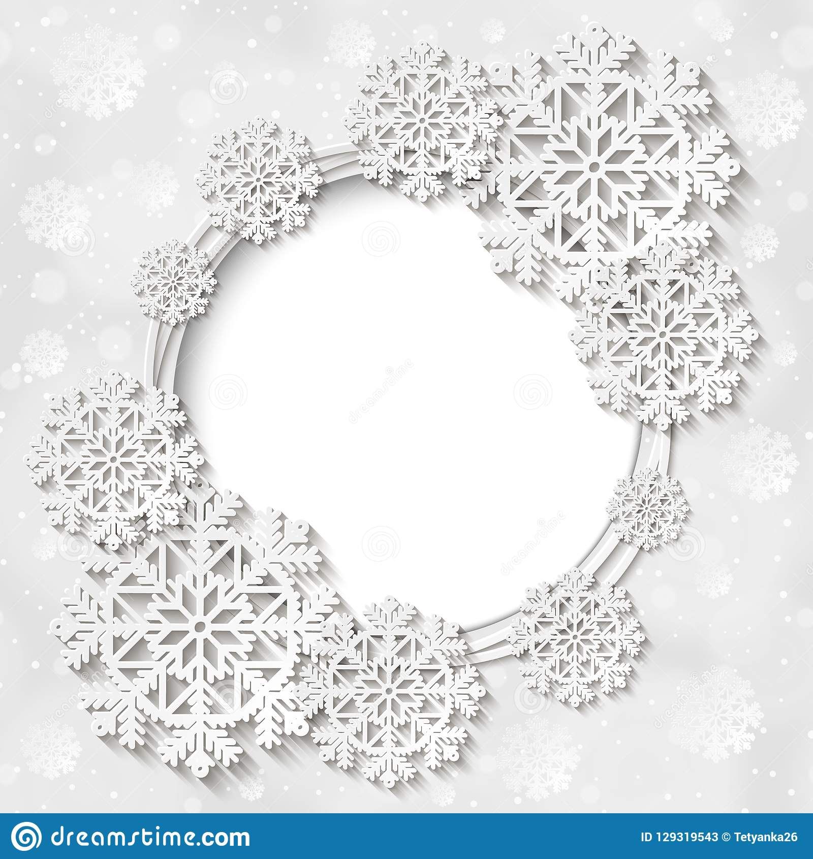 Bright Vector White Winter Round Frame With Snowflake Decoration ...