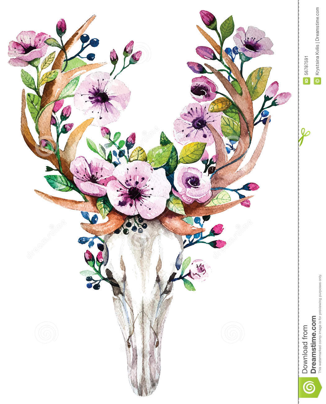 Bright Watercolor Vector Deer Skull With Flowers Stock