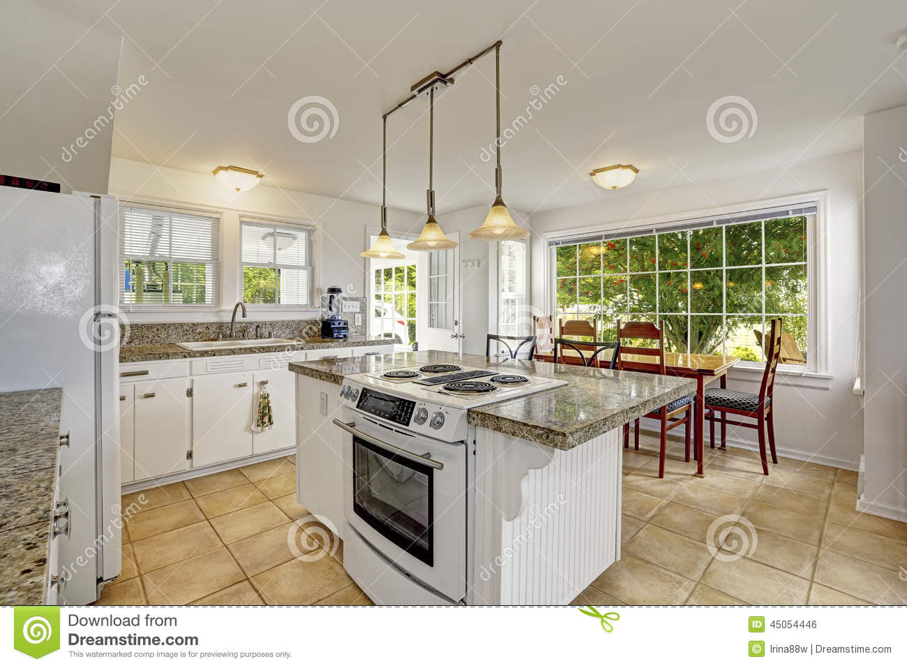 Bright white modern kitchen interior with island and for Pictures for dining area