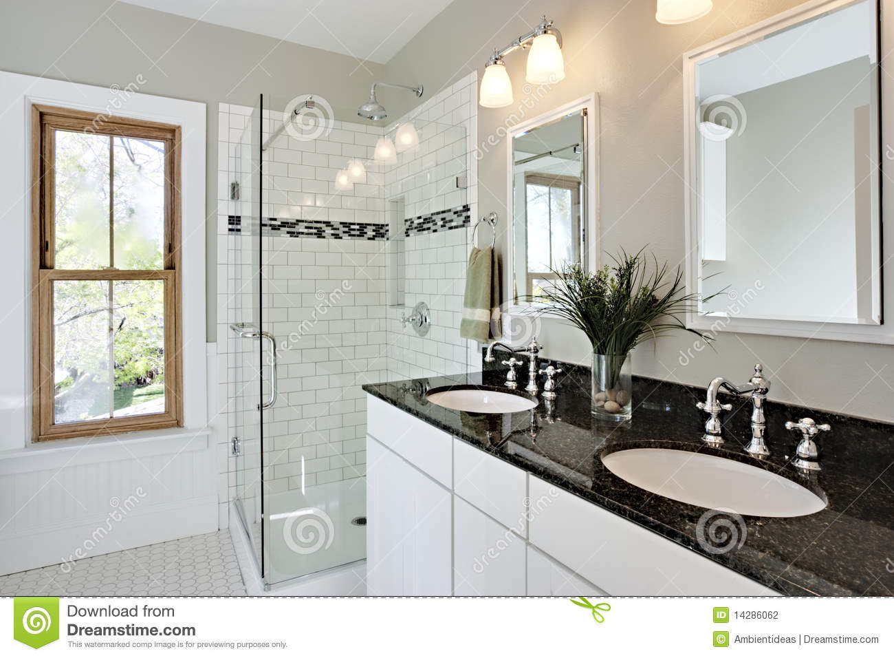 Bright white remodel bathroom stock photography image for White bathroom remodel pictures