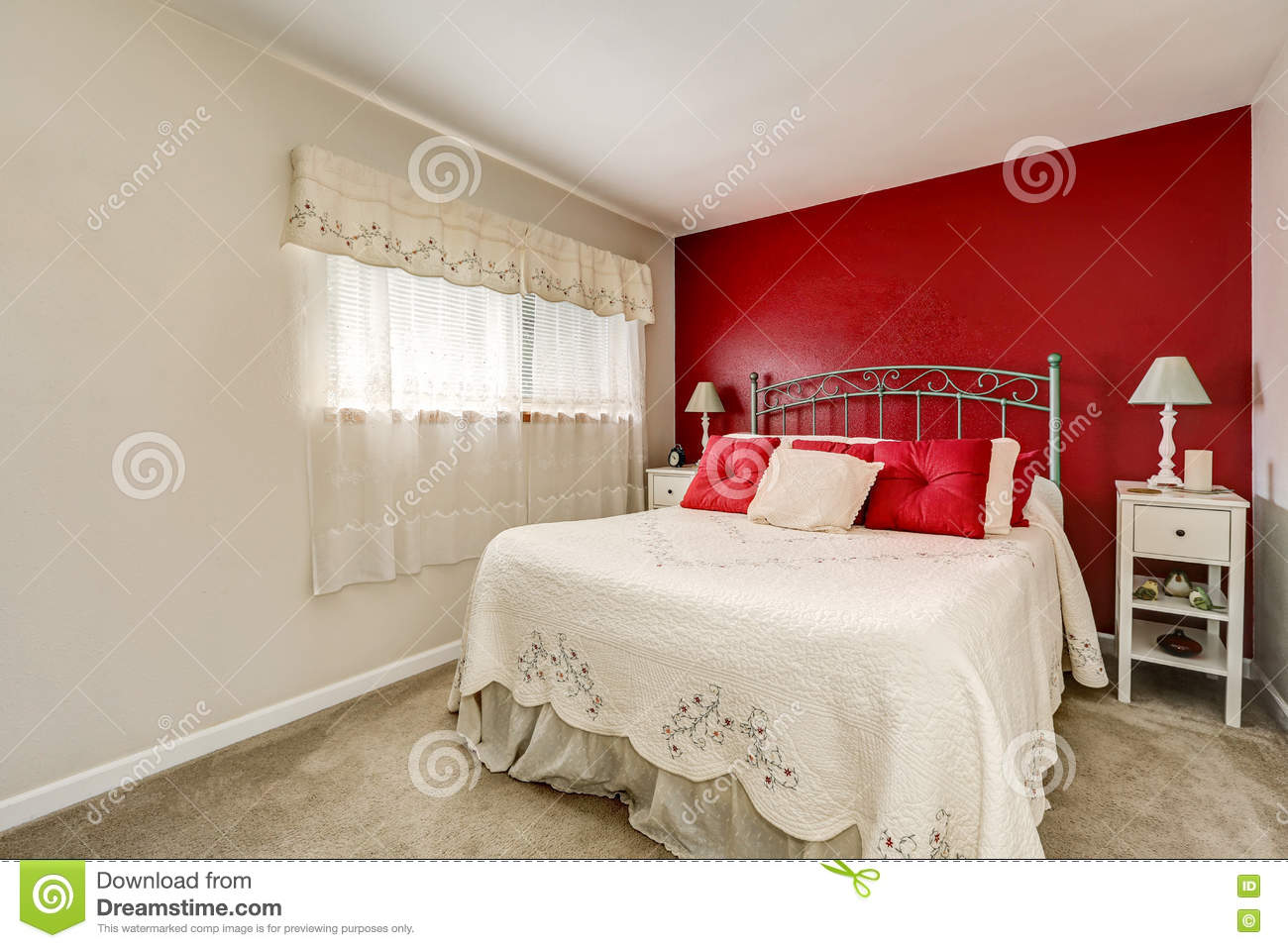Bright Womans Bedroom With Red Contrast Wall Stock Photo Image Of