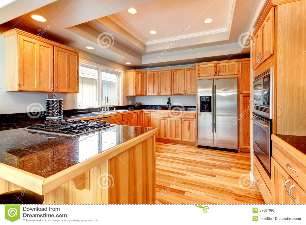 Bright Wood Kitchen With Coffered Ceiling Stock Image