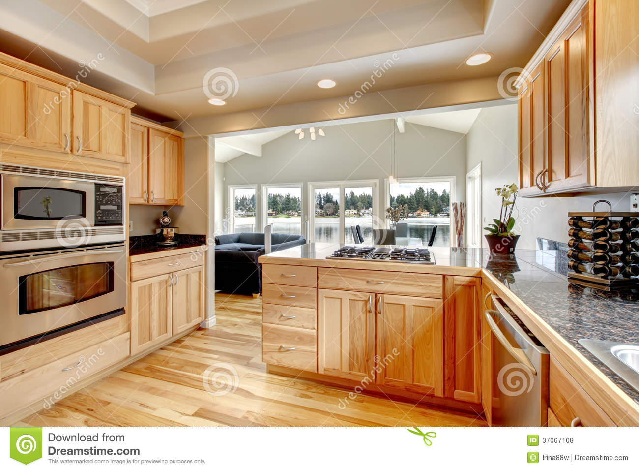 Bright Wood Kitchen And Dining Area Stock Photo Image Of