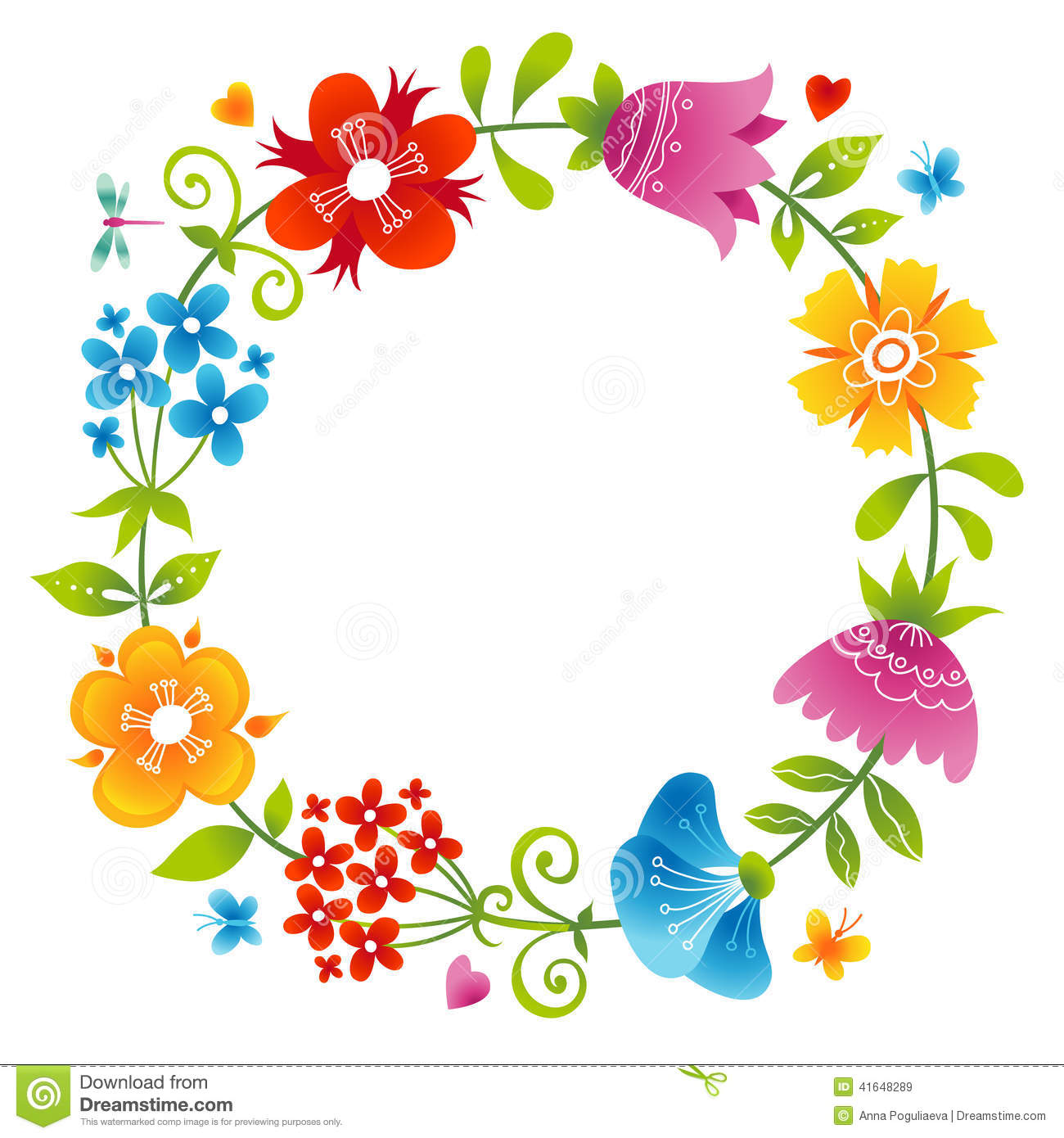 Bright Wreath With Colorful Flowers Stock Vector