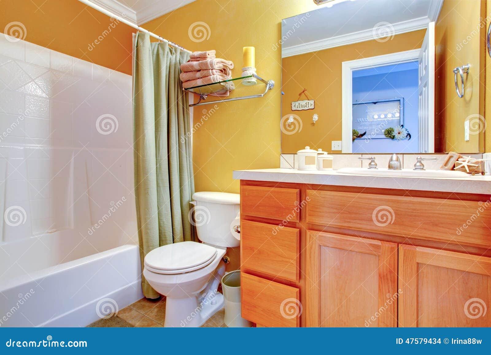 Bright yellow bathroom interior. Bright Yellow Bathroom Interior Stock Photo   Image  47579434