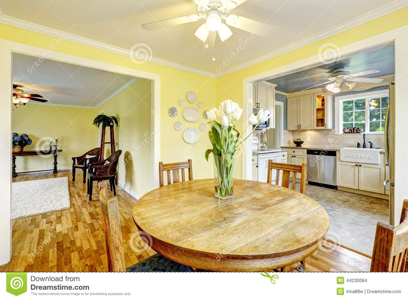Bright yellow dining room stock photo. Image of project ...