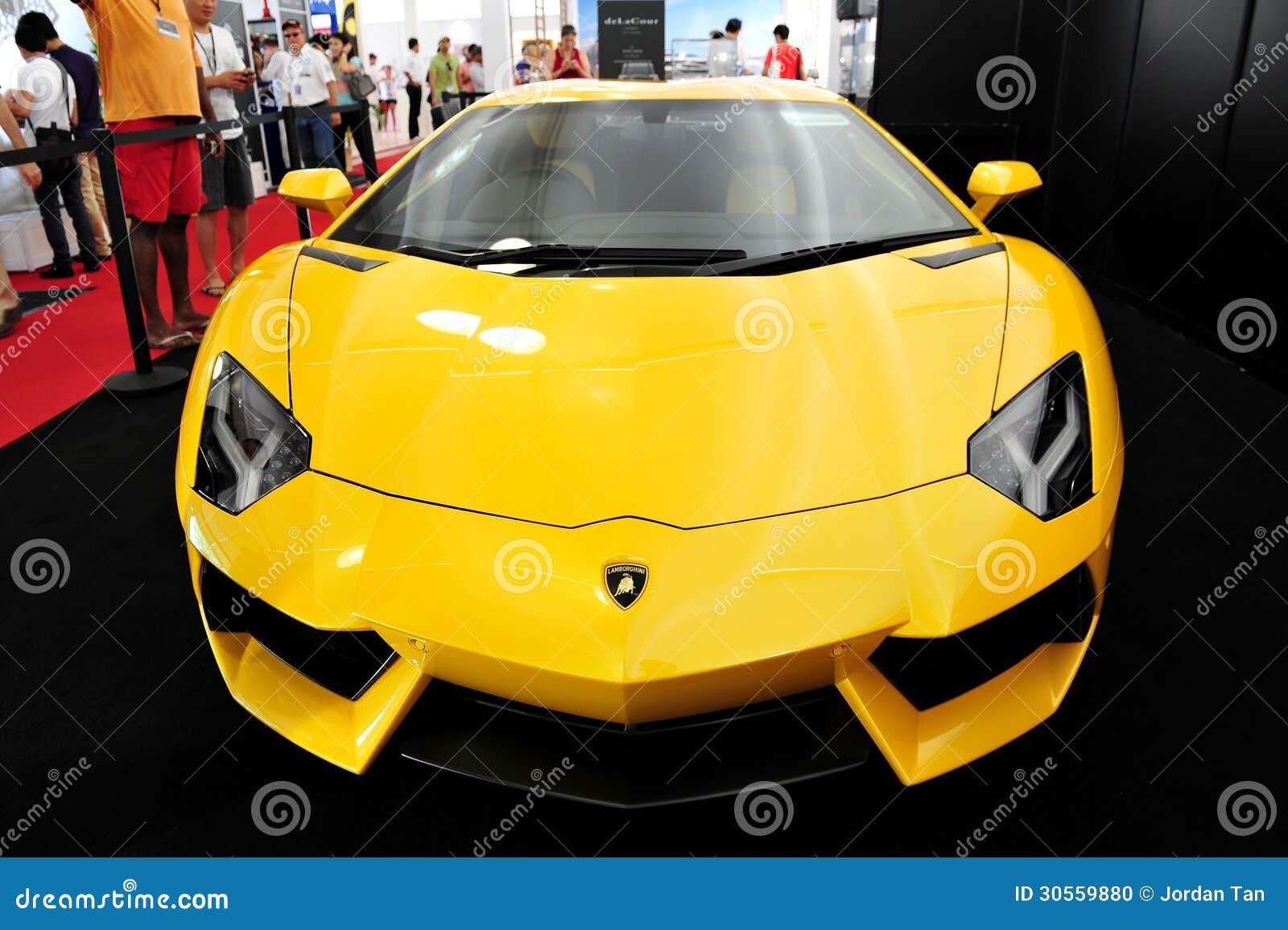 Bright Yellow Lamborghini Aventador On Display At The Singapore