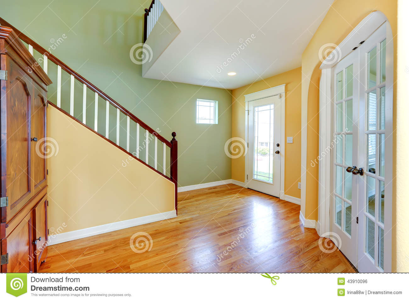 bright yellow and mint entrance hallway stock photo image 43910096. Black Bedroom Furniture Sets. Home Design Ideas