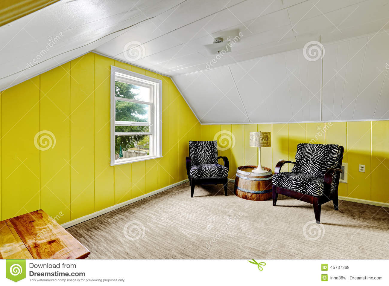 Bright Yellow Room With Sitting Area Stock Photo - Image of real ...