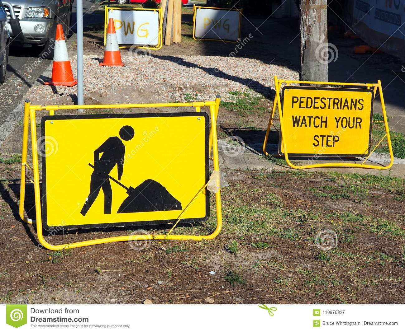 Roadwork Signs, Pedestrians Mind Your Step Stock Image - Image of