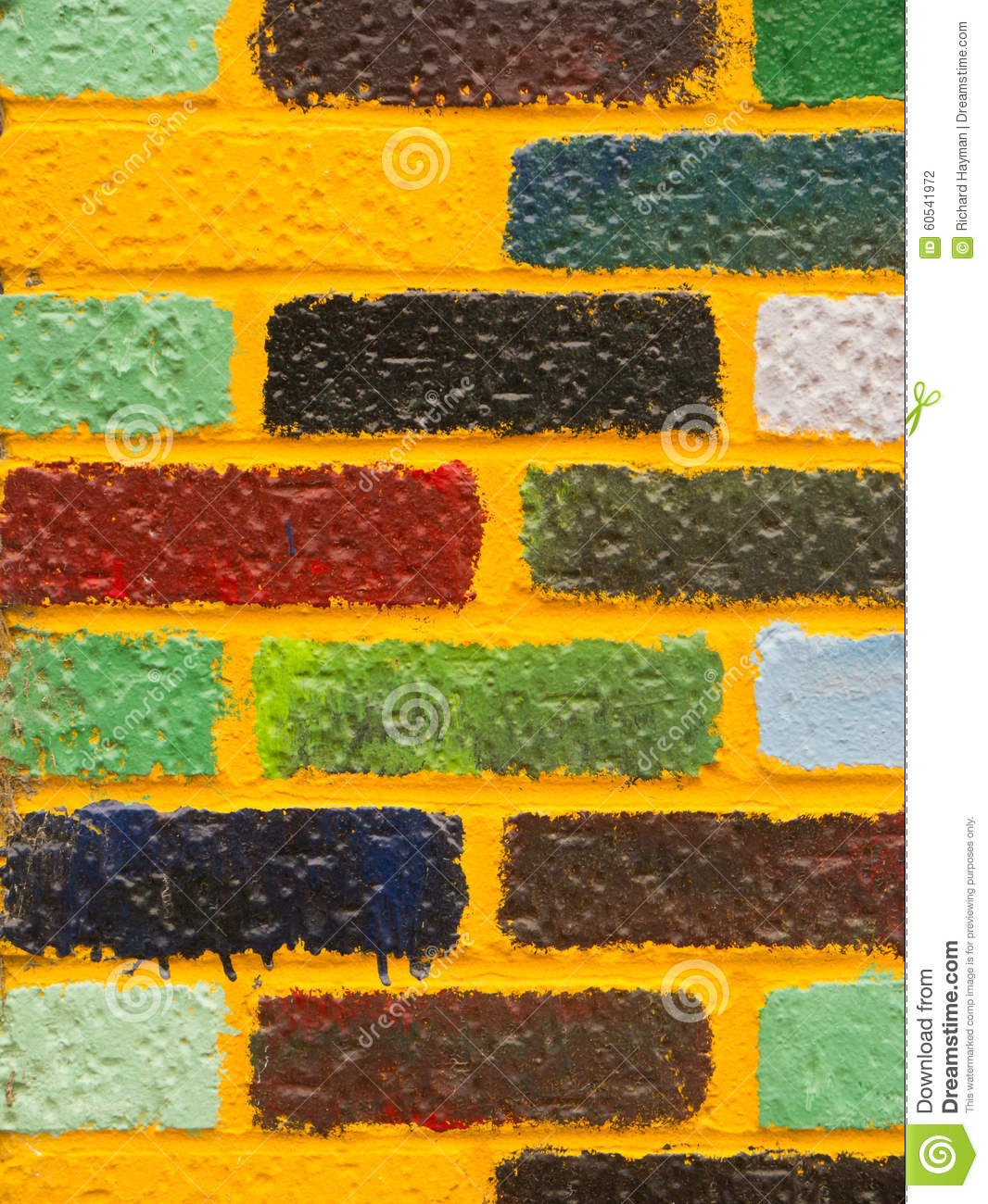 Brightly-colored Brick Wall Stock Photo - Image of colors, bright ...