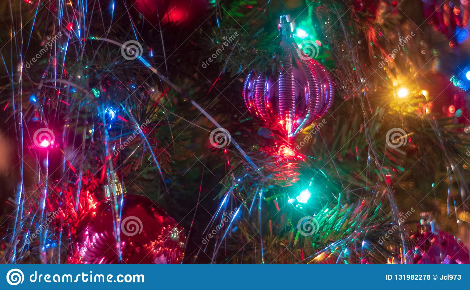 Brightly Colored, Cheery Christmas Tree Ornaments Hung Up ...