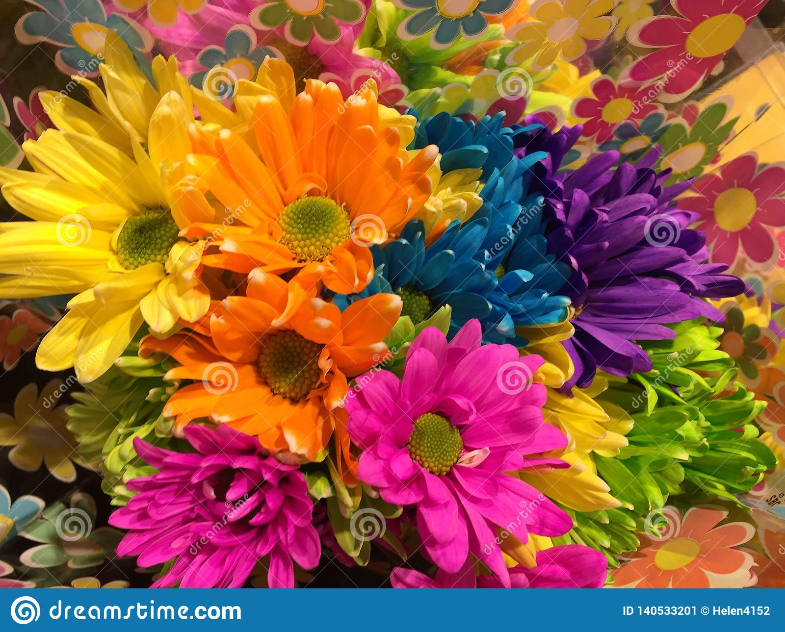 Brightly Colored Flowers At Market Stock Image Image Of