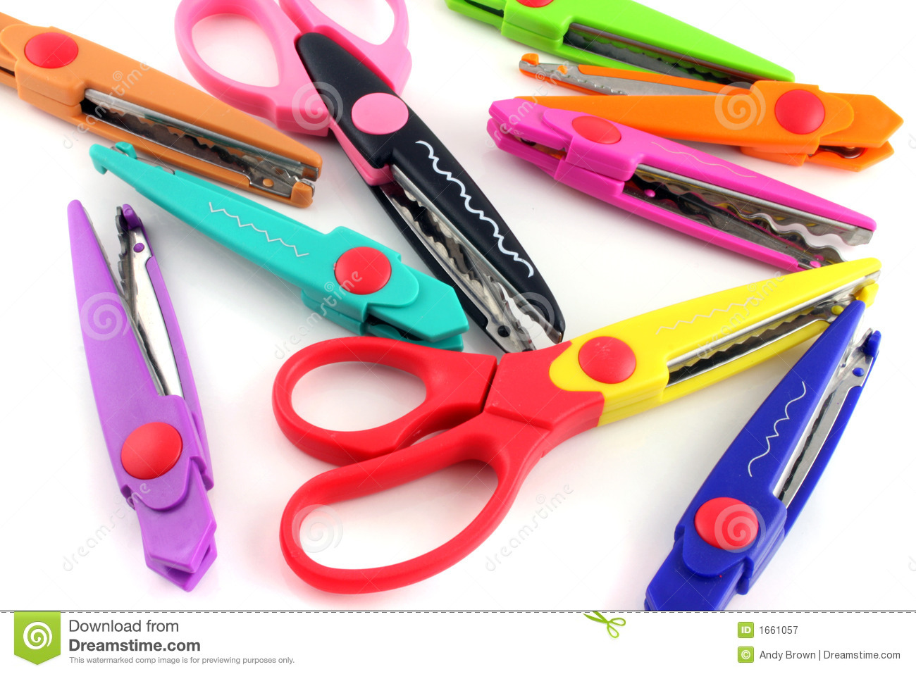 Brightly Colors Craft Scissors On A White Background Royalty Free ...