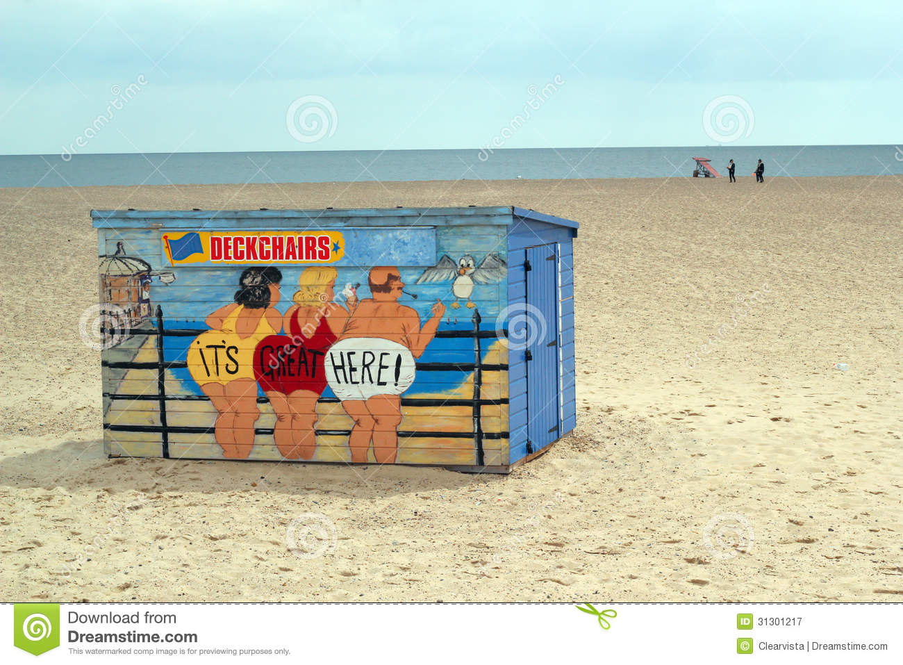 A Brightly Painted Deck Chair Hut On A Beach. Editorial ...