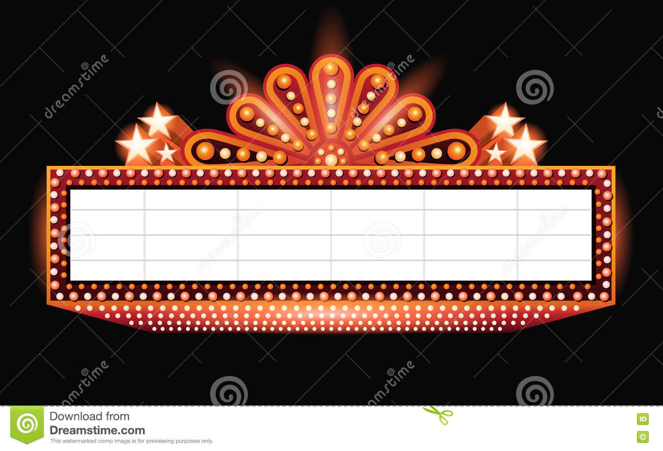 brightly theater glowing orange retro cinema neon sign stock vector image 75505836. Black Bedroom Furniture Sets. Home Design Ideas