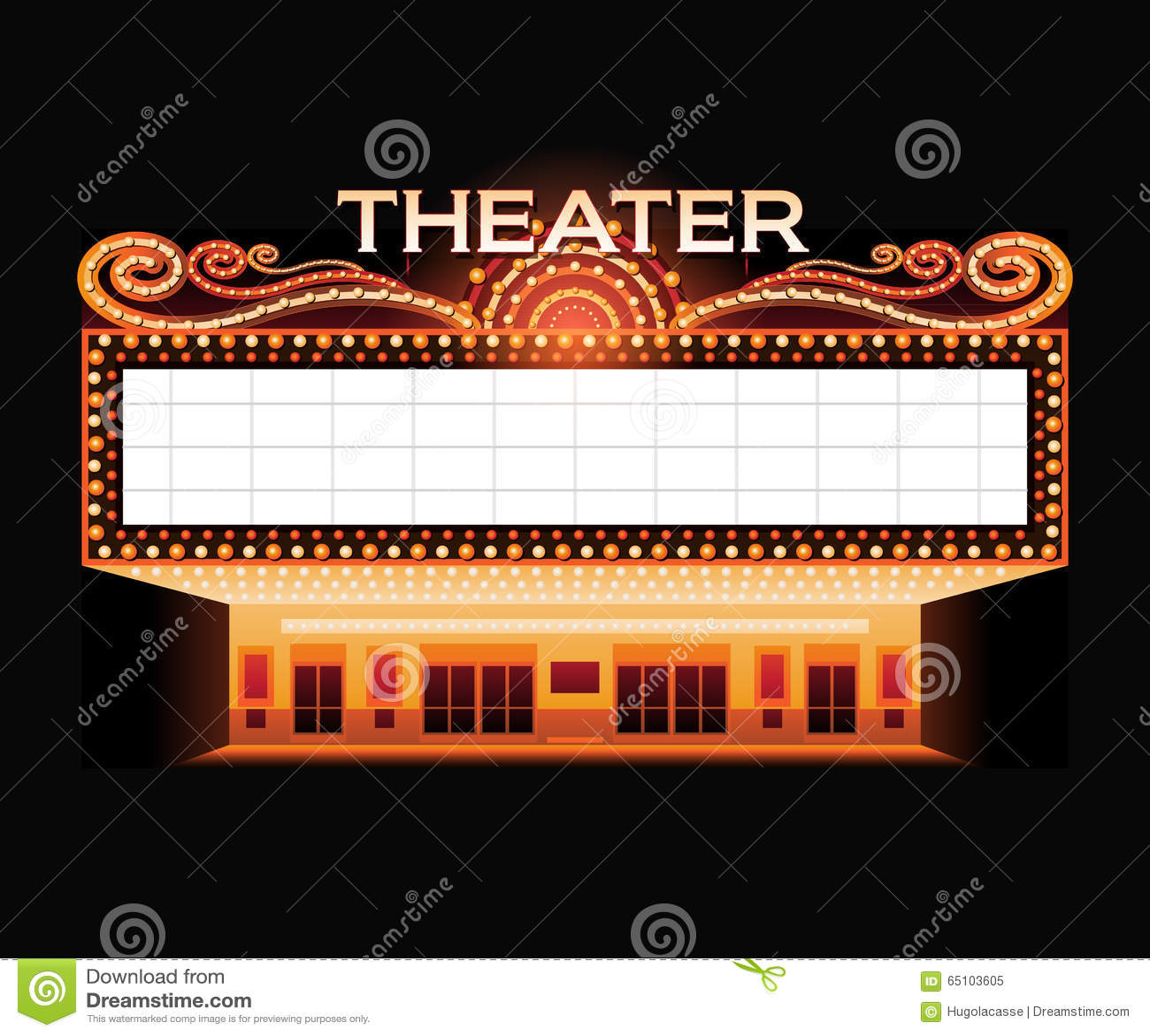 brightly theater glowing retro cinema neon sign stock