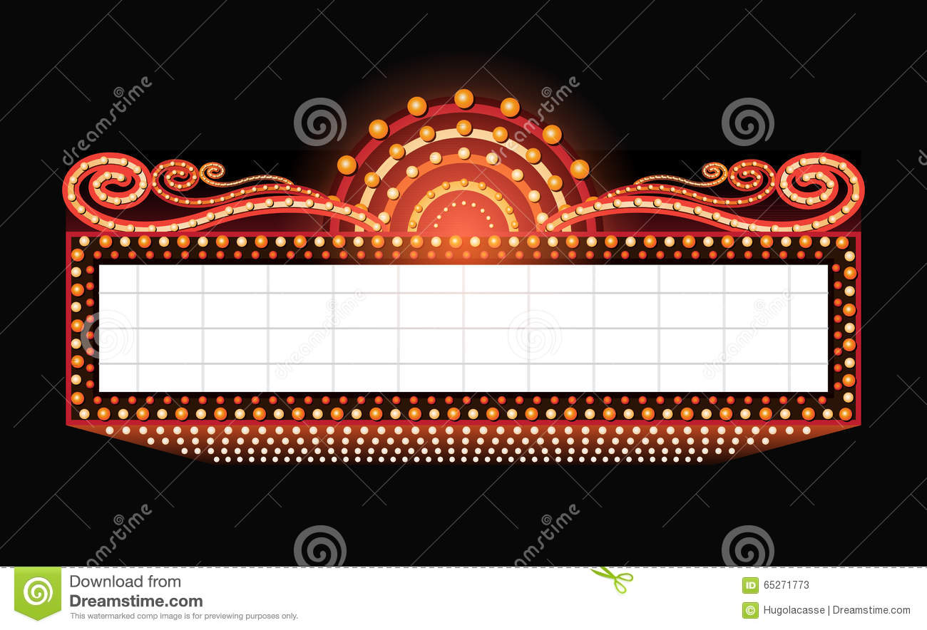 Brightly Theater Glowing Retro Cinema Neon Sign Stock