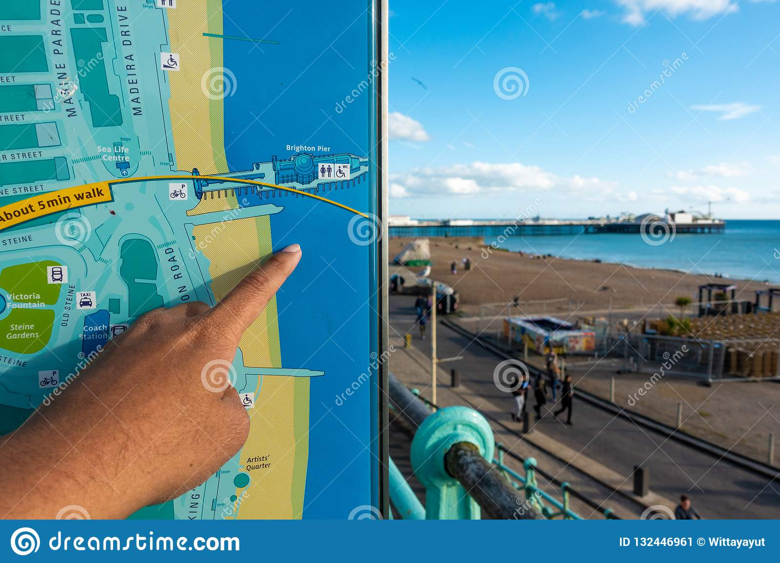 Map Of England Brighton.Brighton England 1 October 2018 Asian Young Traveler Read And