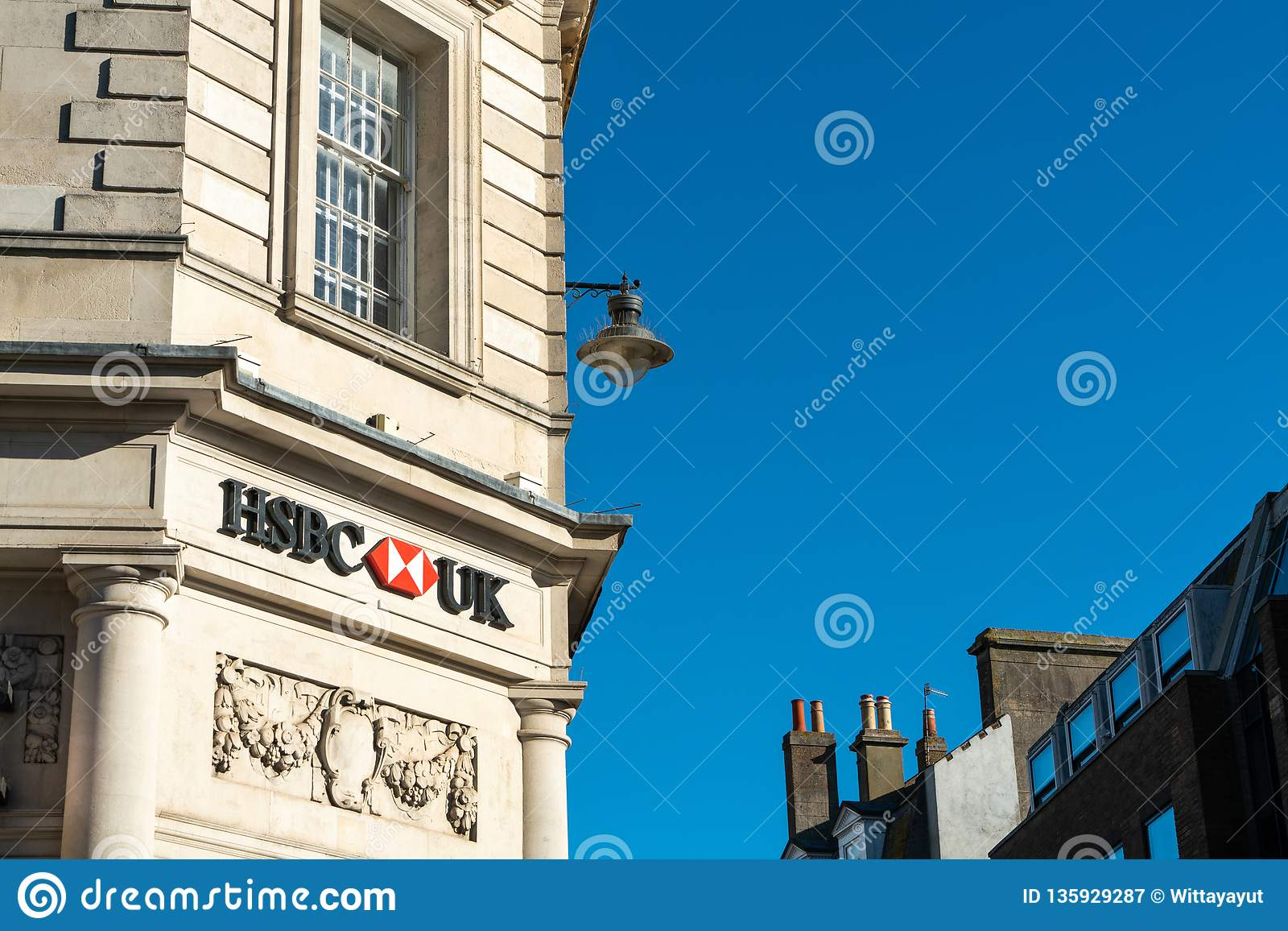 Brighton, England-6 October,2018: HSBC Bank Sign In The Entrance Of