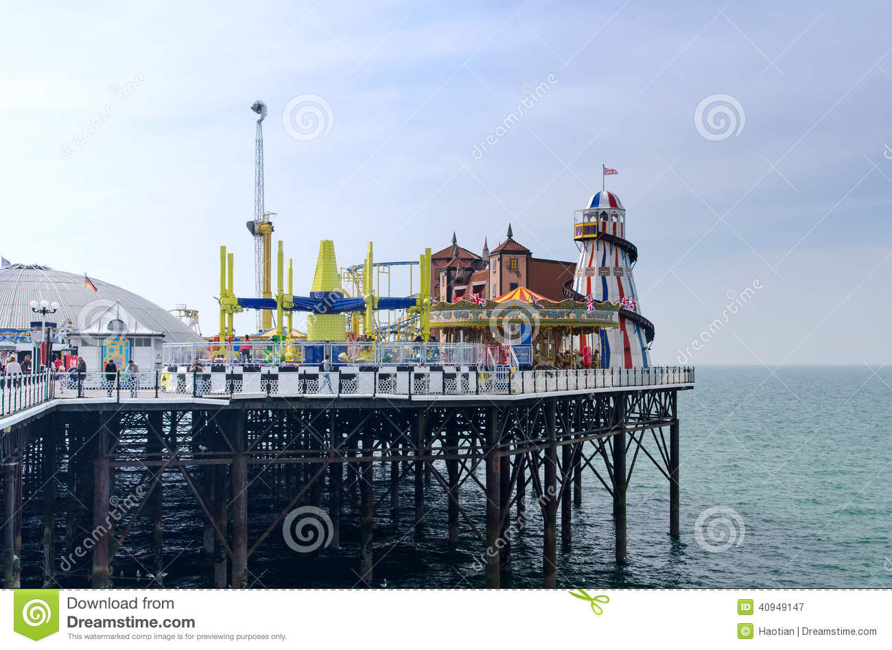 Brighton Pier Rides editorial photography. Image of stilts