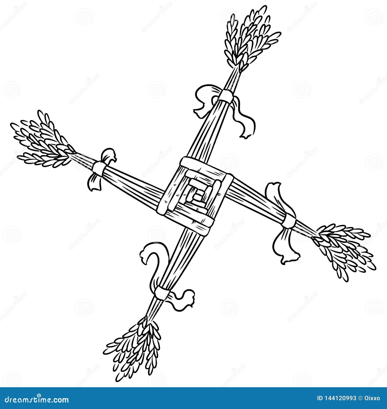Brigid Cross gjorde av sugr?r Wiccan hedniskt skissat symbol Isolerad best?ndsdel