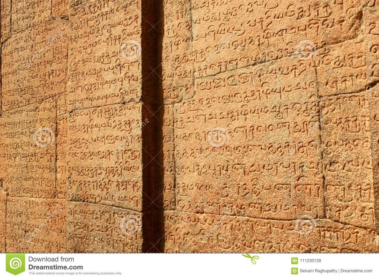 Tamil and Sanskrit inscriptions from the 11th century.