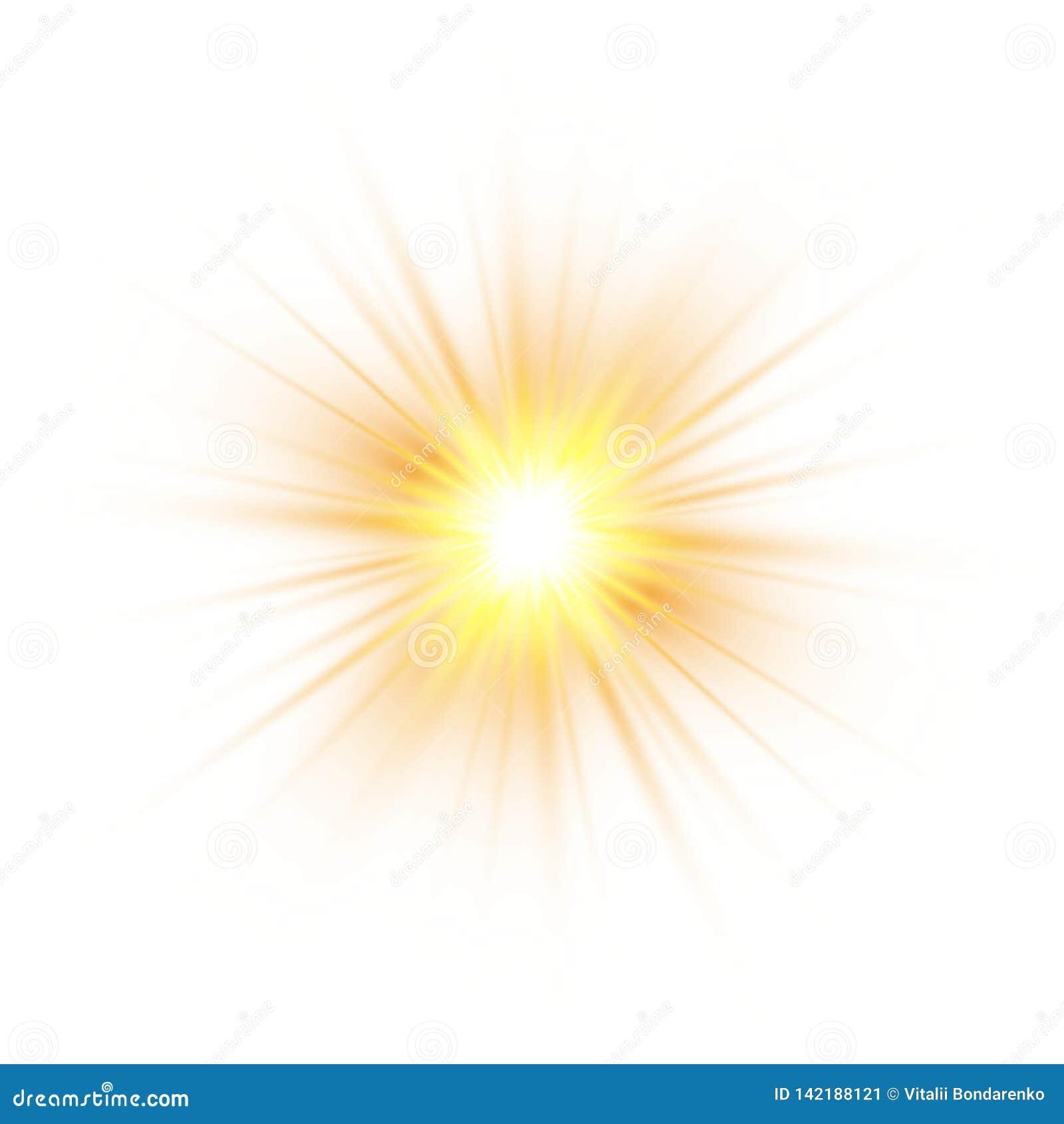 Brilla intensamente el efecto luminoso, explosión, brillo, chispa, flash del sol Ilustración del vector