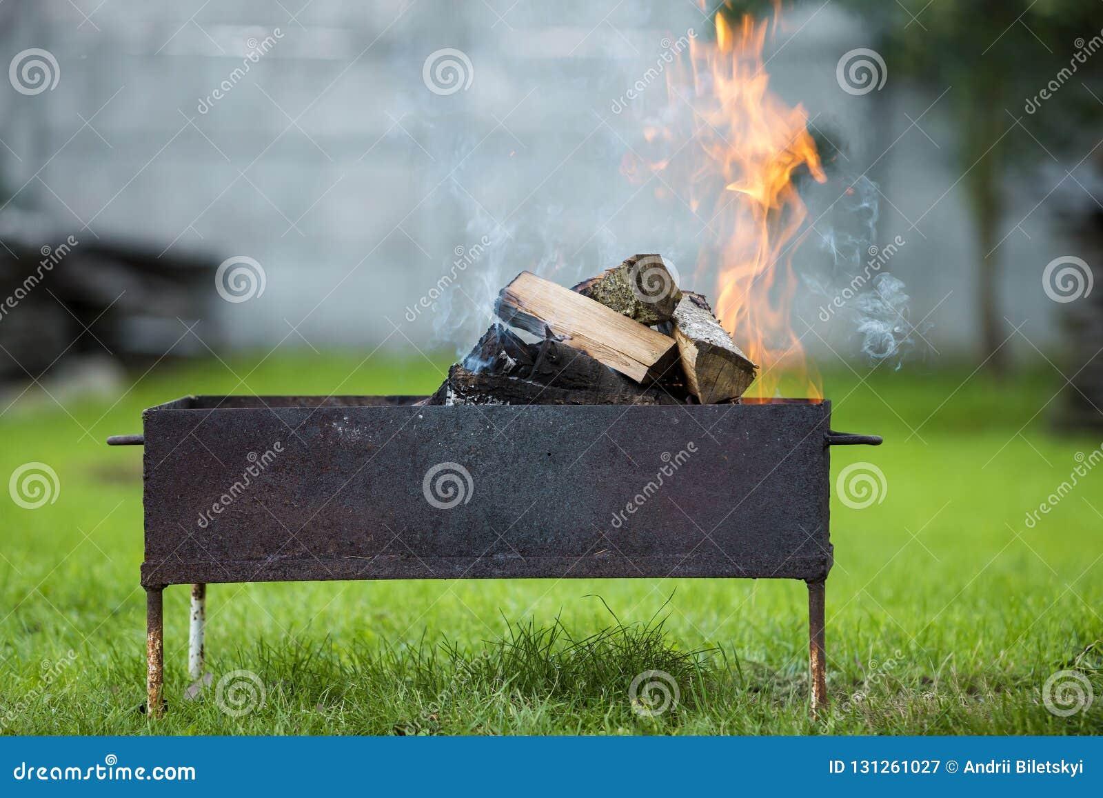 Brillantemente quemando en la leña de la caja del metal para la barbacoa al aire libre leva
